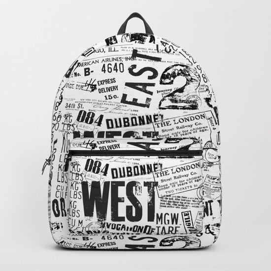 East West Grunge Distressed black white #urban typography Backpack