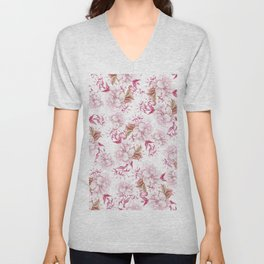 Modern pink blush purple pastel watercolor elegant floral Unisex V-Neck