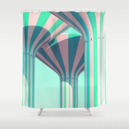 Teal Towers Shower Curtain