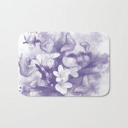 Ultraviolet tropical flowers and butterflies Bath Mat