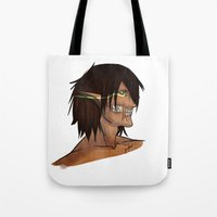 attack on titan Tote Bags featuring Titan Form by JemyArt