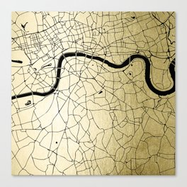London Gold on Black Street Map Canvas Print