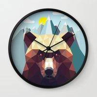 mountain Wall Clocks featuring Bear Mountain  by Davies Babies