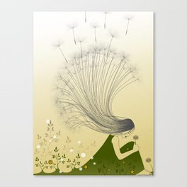 the girl with dandelion hair Canvas Print
