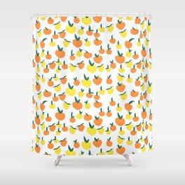 Handdrawn Lemons and Oranges Pattern Shower Curtain