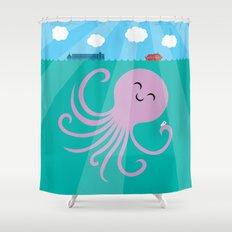 Octopus Selfie Shower Curtain