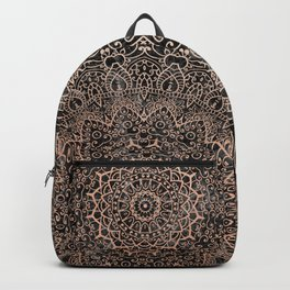 Mandala - rose gold and black marble 3 Backpack