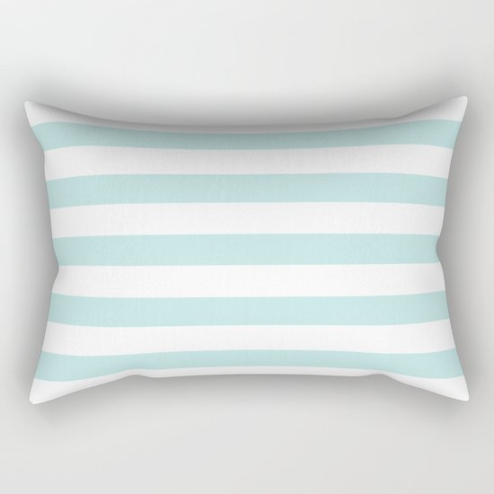 Simply Striped in Succulent Blue and White Rectangular Pillow