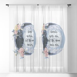 Fashion vector boho illustration with moon and flowers, dreamcatcher Sheer Curtain