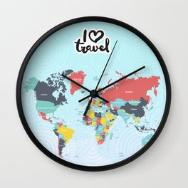 Love map travel Wall Clock