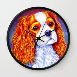 Colorful Cavalier King Charles Spaniel Wall Clock