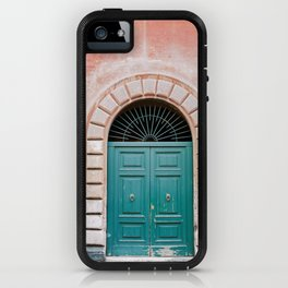 Turquoise Green door in Trastevere, Rome. Travel print Italy - film photography wall art colourful. iPhone Case