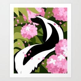 Springtime Skunk Among the Flowers Art Print