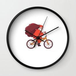 Cycling Santa Claus Merry Bikemas Santa Riding Bicycle Wall Clock