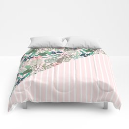 floral and stripe- pink/green Comforters