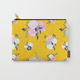 Spring Florals on Mustard Yellow Carry-All Pouch
