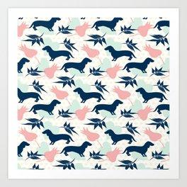 Love Dachshund Dog Floral Polk Dot Pattern Art Print