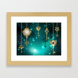 Antique Keys on Green Background ( Steampunk ) Framed Art Print
