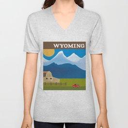 Wyoming - Skyline Illustration by Loose Petals Unisex V-Neck