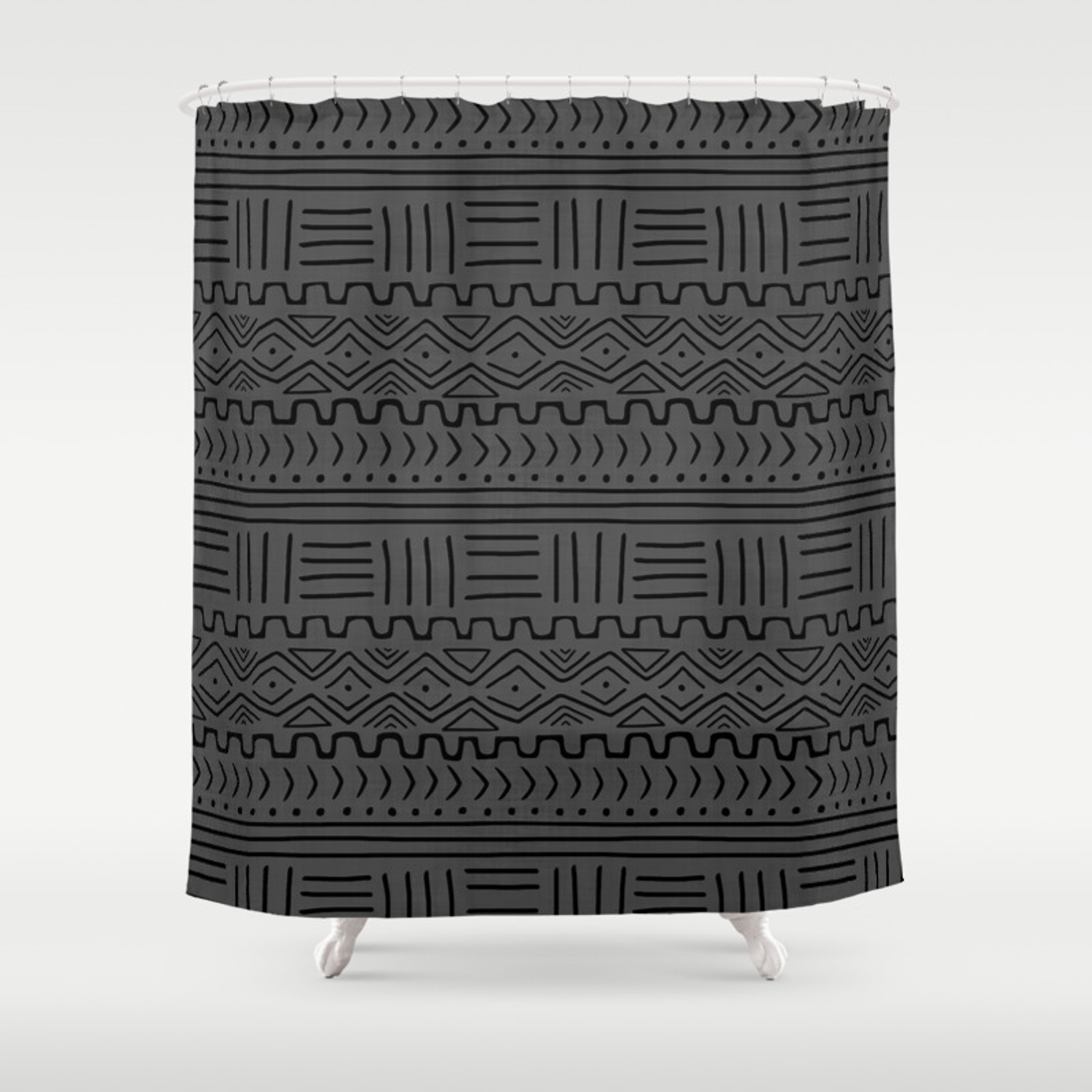 Mud Cloth On Linen Shower Curtain