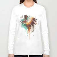 native american Long Sleeve T-shirts featuring Native American Girl by TapuTIKI