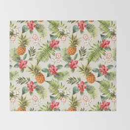 pineapple with tropical flower Throw Blanket