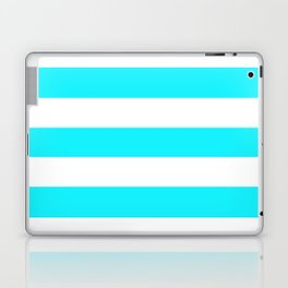 Lotion blue - solid color - white stripes pattern Laptop & iPad Skin