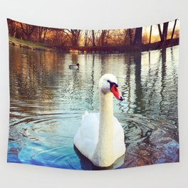 Swan in the Park Wall Tapestry