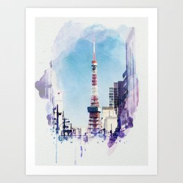 Tokyo Tower Seen from Gaien-Higashi-Dori - Watercolor Art Print