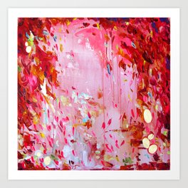 Hot pink, bright red, orange, gold - Abstract #30 Art Print