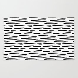 Paintbrush Stripes - Black on White Rug