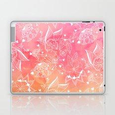 Modern summer white floral mandala illustration on pink orange sunset watercolor Laptop & iPad Skin