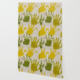 print with painting on hands Wallpaper