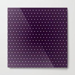 Dark purple and White cross sign pattern Metal Print
