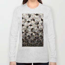 Marble Cubes - Black and White Long Sleeve T-shirt