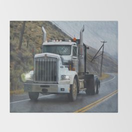 Delivery Done! Truck Art Throw Blanket