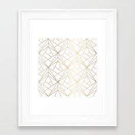 Geometric Gold Pattern With White Shimmer Framed Art Print