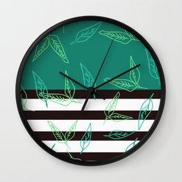 Leafy Solid + Stripe II Wall Clock