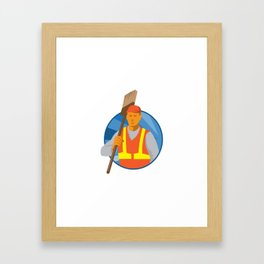 janitor cleaner sweeper with broom retro Framed Art Print