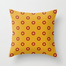 Circles, Mustard and Red Throw Pillow