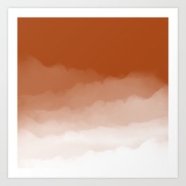 Burnt Orange Watercolor Ombre (burnt orange/white) Art Print