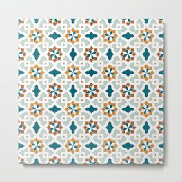 Geometric Pattern, oriental style (nature color set)  traditional morocco tile pattern Metal Print