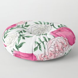 Rose Florals and Stems Floor Pillow