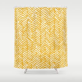 Boho Mudcloth Pattern, Summer Yellow Shower Curtain