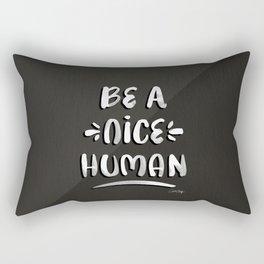 Be a Nice Human – White Type on Black Palette Rectangular Pillow
