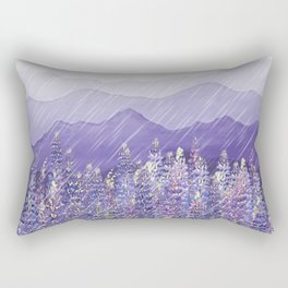 Purple Mountain Rain Rectangular Pillow