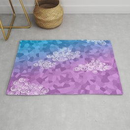 Abstract clouds - dudle on colorful background Rug