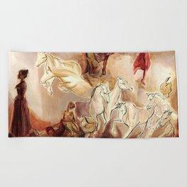 Imagined dream horses children dancing painting Beach Towel