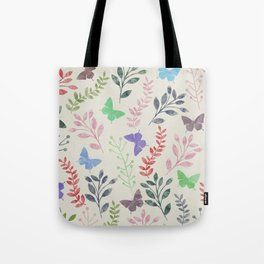 Watercolor flowers & butterflies Tote Bag