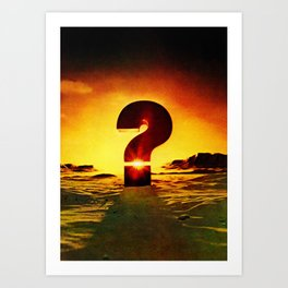 Vintage 1970's Question Mark With Sunset Art Print